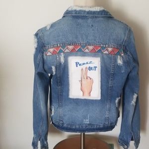"""""""PEACE OUT"""" hand painted patched denim jacket"""